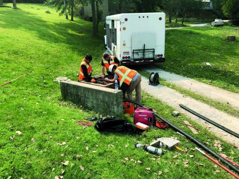 Crew working on riser in Plattsmouth