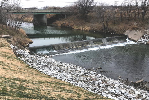 A similar Oak Creek weir, near First Street, after it was rehabilitated in 2018.