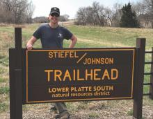 Trent in front of the Stiefel/Johnson Trailhead