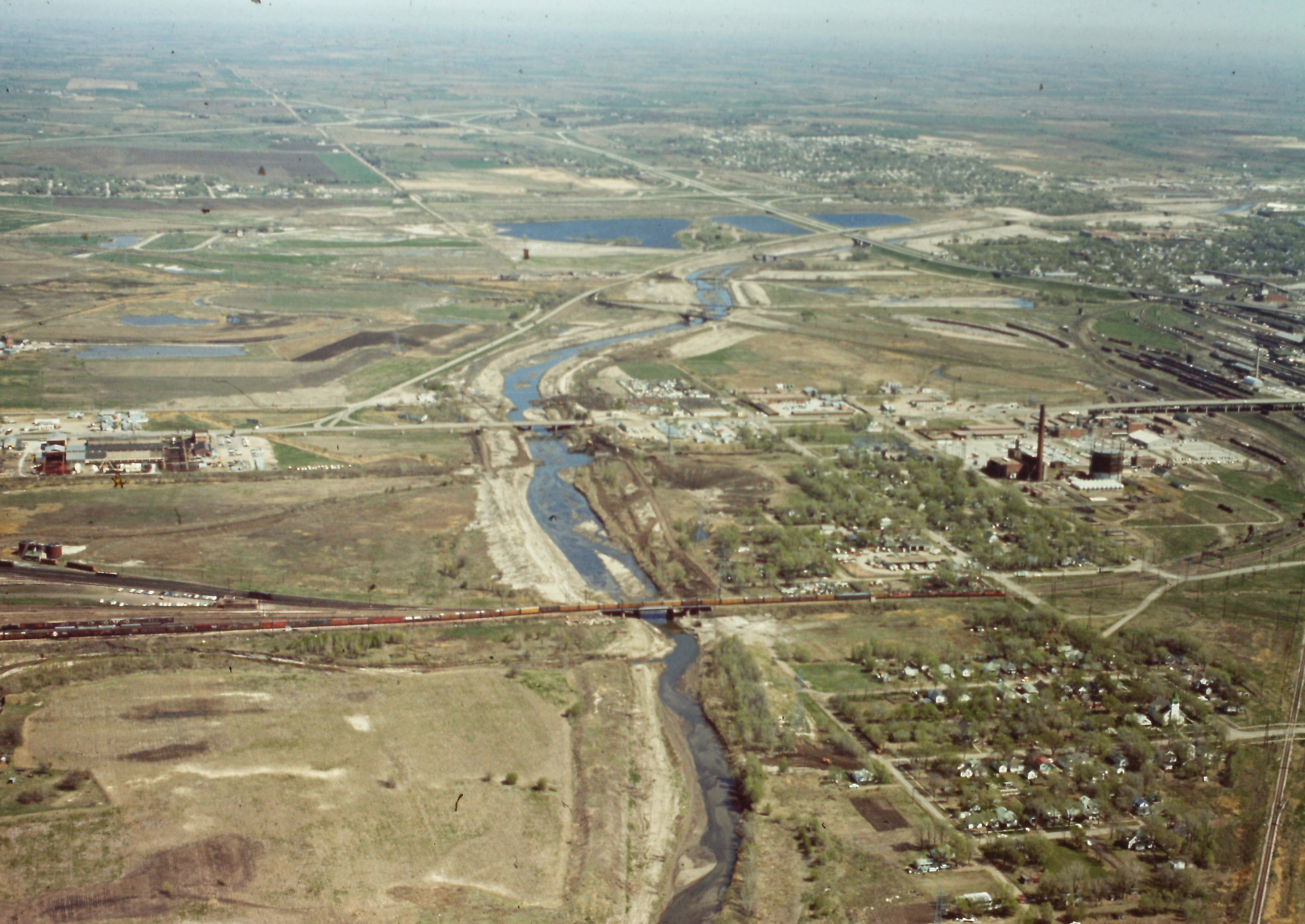 Salt Creek Levee as it winds its way north through Lincoln in 1965.