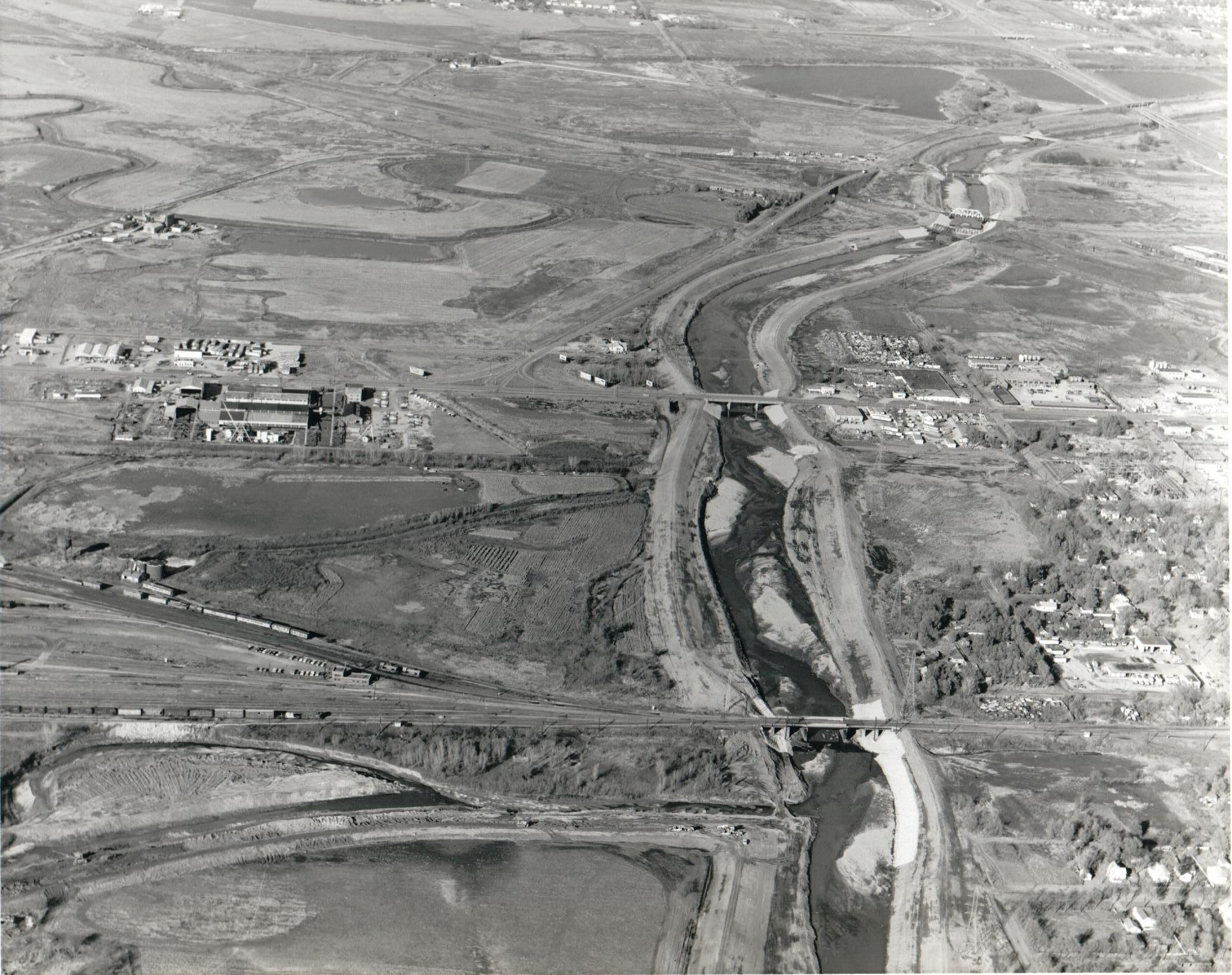 "Salt Creek looking north in the mid-1960s. Work had started on the levee. ""O"" Street is near the top."